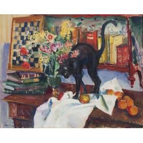 """Still Life with a Сat"" Jean Jovenau"
