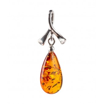 """Baroque"" Amber Pendant in silver"