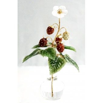 "Wild strawberry"" carved stone bouquet"