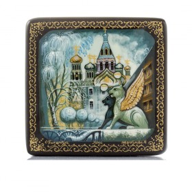 "Lacquer Box ""Church of the Savior on the Spilled Blood. Winter"" Kholuy"