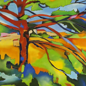 "Batik ""Great Pine near Aix. Cezanne"""