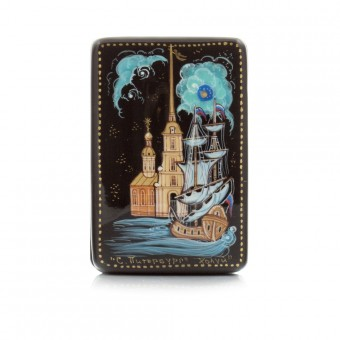 """Lacquer box """"View of Peter and Paul Fortress and the Neva River"""" Kholuy"""