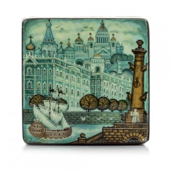 "Lacquer Box ""Saint-Petersburg. The Hermitage"" Kholuy"