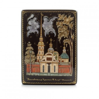 """Lacquer box """"The Peter and Paul Fortress"""" Kholuy"""
