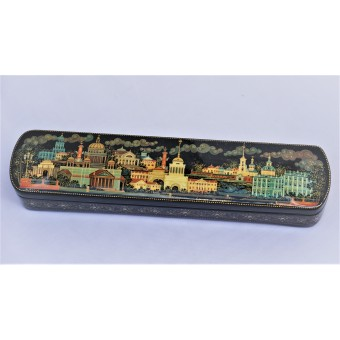 """Lacquer box """"Panorama of St Petersburg with Gryphons"""" Kholuy"""