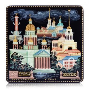 """Lacquer box """"Saint-Petersburg"""" Kholuy"""