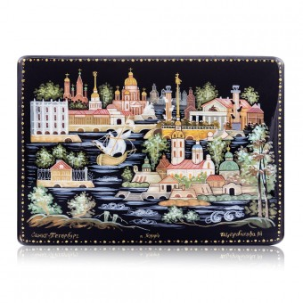 "Lacquer box ""Panorama of St Petersburg"" Kholuy"