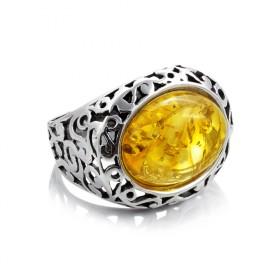 """Monferran"" silver amber ring"