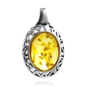 """Monferran"" silver amber pendant"