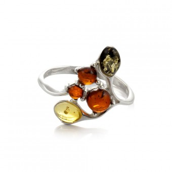 """""""Amber Leaves"""" Ring in silver"""