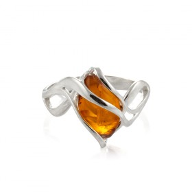 """Amber Stone"" Ring in silver"