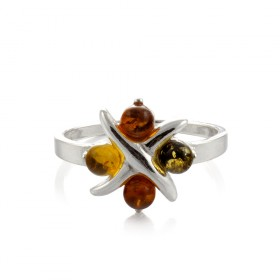 """Amber Flower"" Ring in silver"