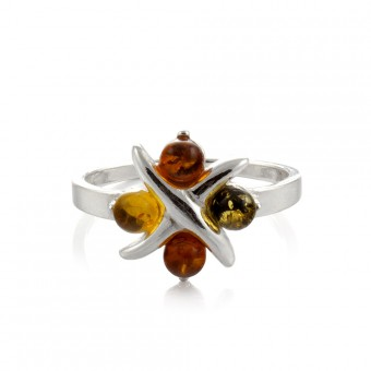 """""""Amber Flower"""" Ring in silver"""