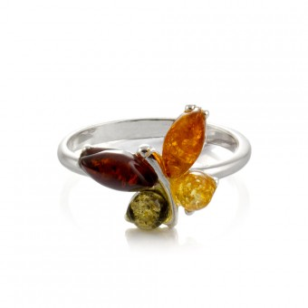 """""""Amber Butterfly"""" Ring in silver"""