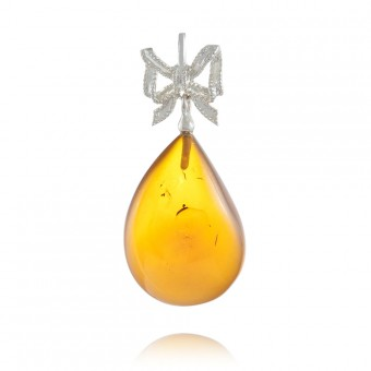 """Bow"" Amber pendant in silver"