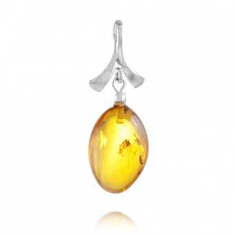 """Baroque"" Amber Pendant in silver"