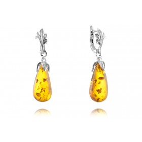 """Baroque"" Amber earrings in silver"