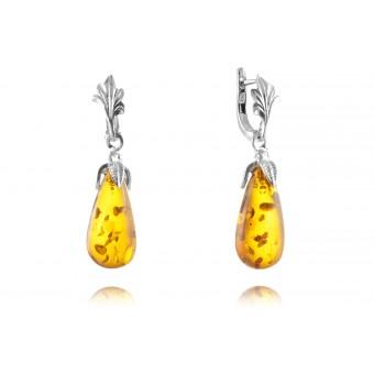 """""""Baroque"""" Amber earrings in silver"""