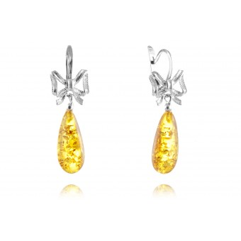 """Bow"" Amber Earrings in silver"
