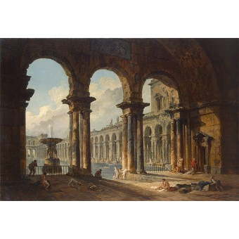 Ancient Ruins used as Public Baths. By Hubert Robert