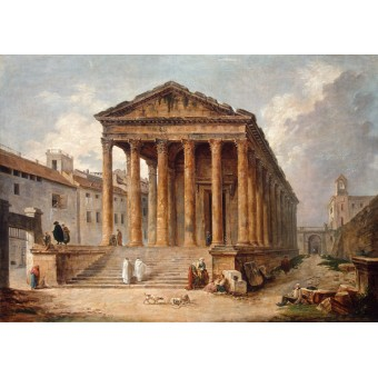 "An Ancient Temple, the ""Maison Carree"" at Nimes. By Hubert Robert"