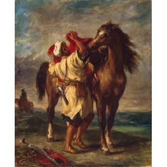 Arab Saddling his Horse. By Eugene Delacroix