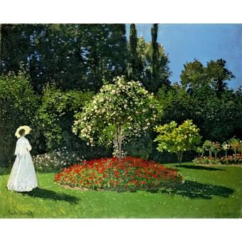 Woman in the Garden. Sainte-Adresse. By Claude Monet