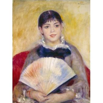 Girl with a Fan. Pierre-Auguste Renoir
