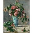 Roses and Jasmine in a Delft Vase. By Pierre-Auguste Renoir