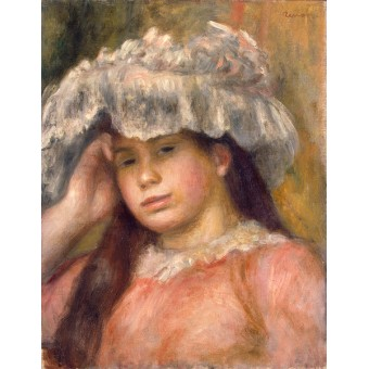 Young Girl in a Hat. By Pierre-Auguste Renoir