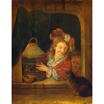 Children with a Cage and a Cat. By Eglon Hendrik van der Neer