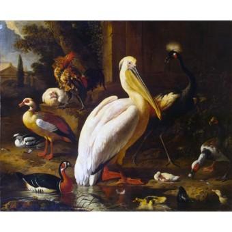 Birds in a Park. By Melchior de Hondecoeter