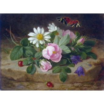 Bouquet of Flowers with a Butterfly. Josef Launer