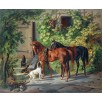 Horses at the Porch. By Albrecht Adam