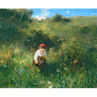 Girl in a Field. By Ludwig Knaus