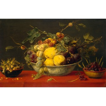 Fruit in a Bowl on a Red Cloth. By Frans Snyders