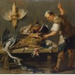 Cook at a Kitchen Table with Dead Game on it. By Frans Snyders