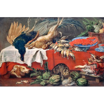Still Life with Dead Game and Lobster. By Pauwel (Paul) de Vos