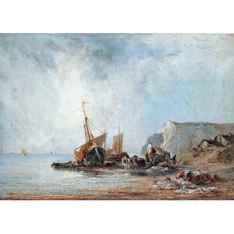 Boats near the Shore of Normandy. By Richard Parkes Bonington
