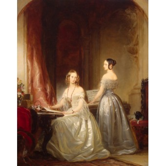 Portrait of Grand Princesses Olga Nikolayevna and Alexandra Nikolayevna at a Harpsicord. By Christina Robertson