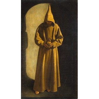 St Francis with a Skull in his Hands. By Francisco de Zurbaran Workshop
