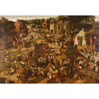 Fair with a Theatrics Performance. By Pieter Brueghel II