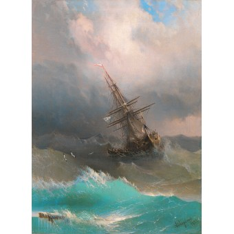 Ship in the Stormy Sea. By Ivan Aivazovsky