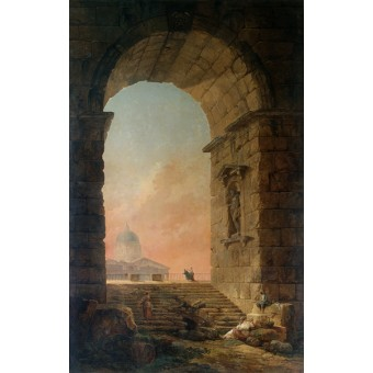 Landscape with an Arch and the Dome of St Peter's in Rome. By Hubert Robert