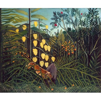 Struggle between Tiger and Bull. By Henri Rousseau