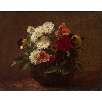 Flowers in an Earthenware Vase. By Henri Fantin-Latour