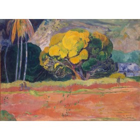 At the Foot of a Mountain (Fatata Te Moua). By Paul Gauguin