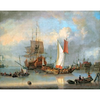 Ships at Sea in Calm Weather. By Jan Claesz Rietshoof