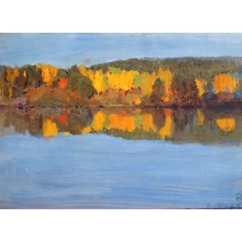 Autumn Landscape with a River. By Eero Nicolai Jarnefelt
