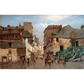 City Street with a Procession. By Oskar Conrad Kleineh